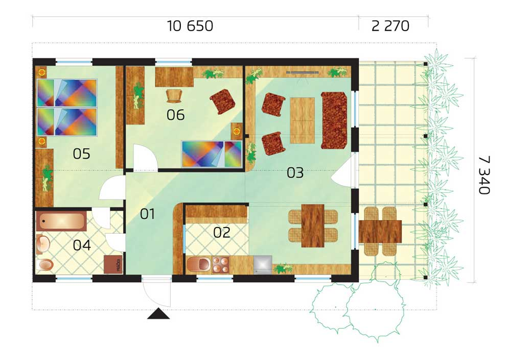 3-room bungalow for smaller grounds - no.13, layout