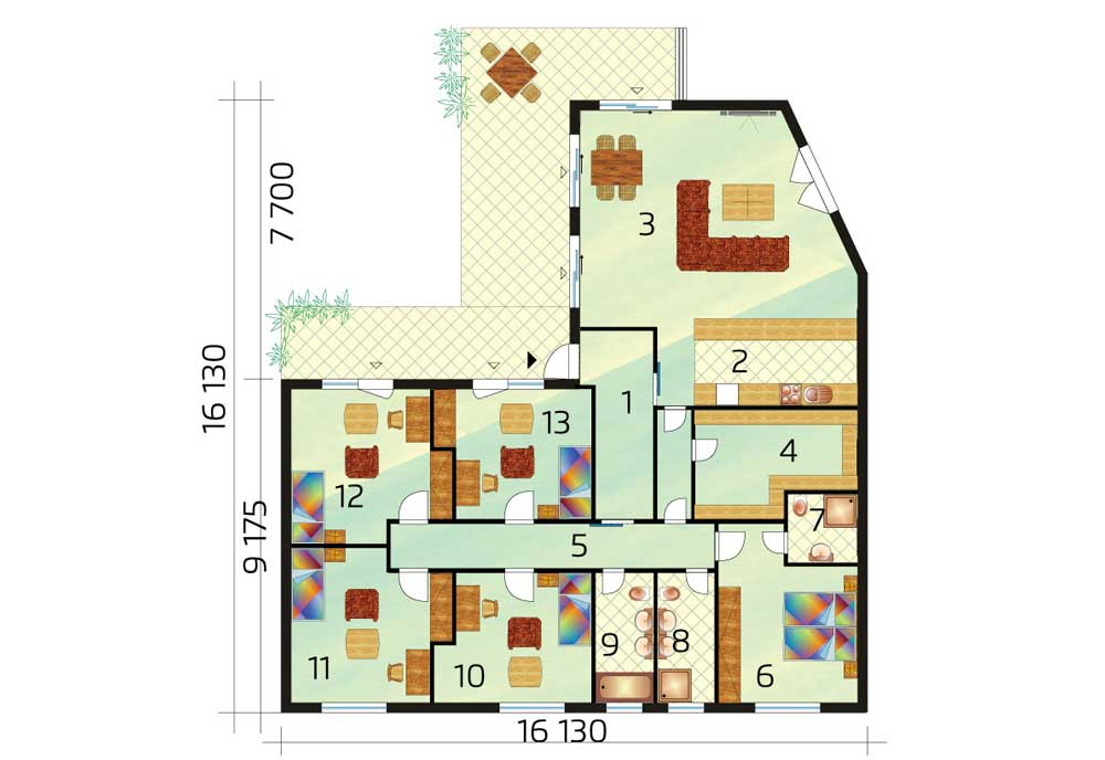 6-room bungalow of generous size - no.43, layout