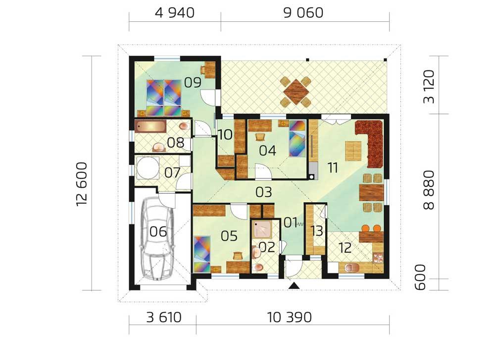 Three bedroom bungalow with garage - č.28, layout