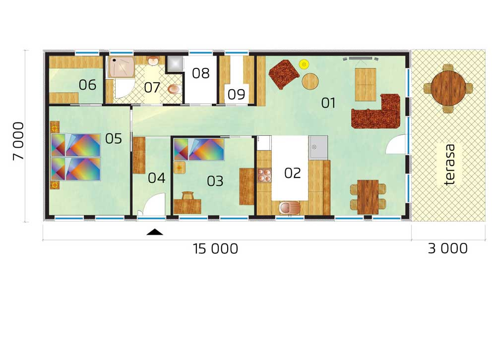 Bungalow ideal for a narrow plot - no.19, layout