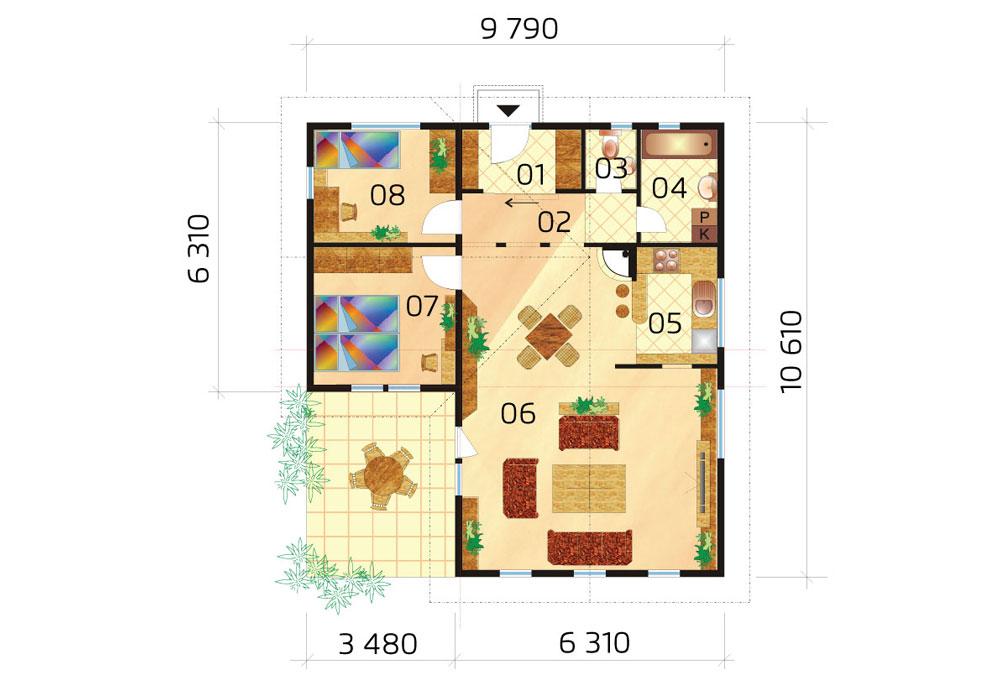L-shaped bungalow - no.30, layout