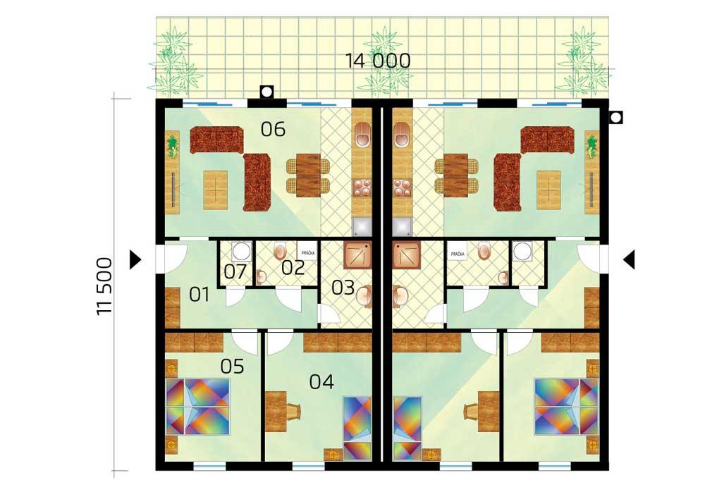 One storey semi - bungalow - č.D11, layout