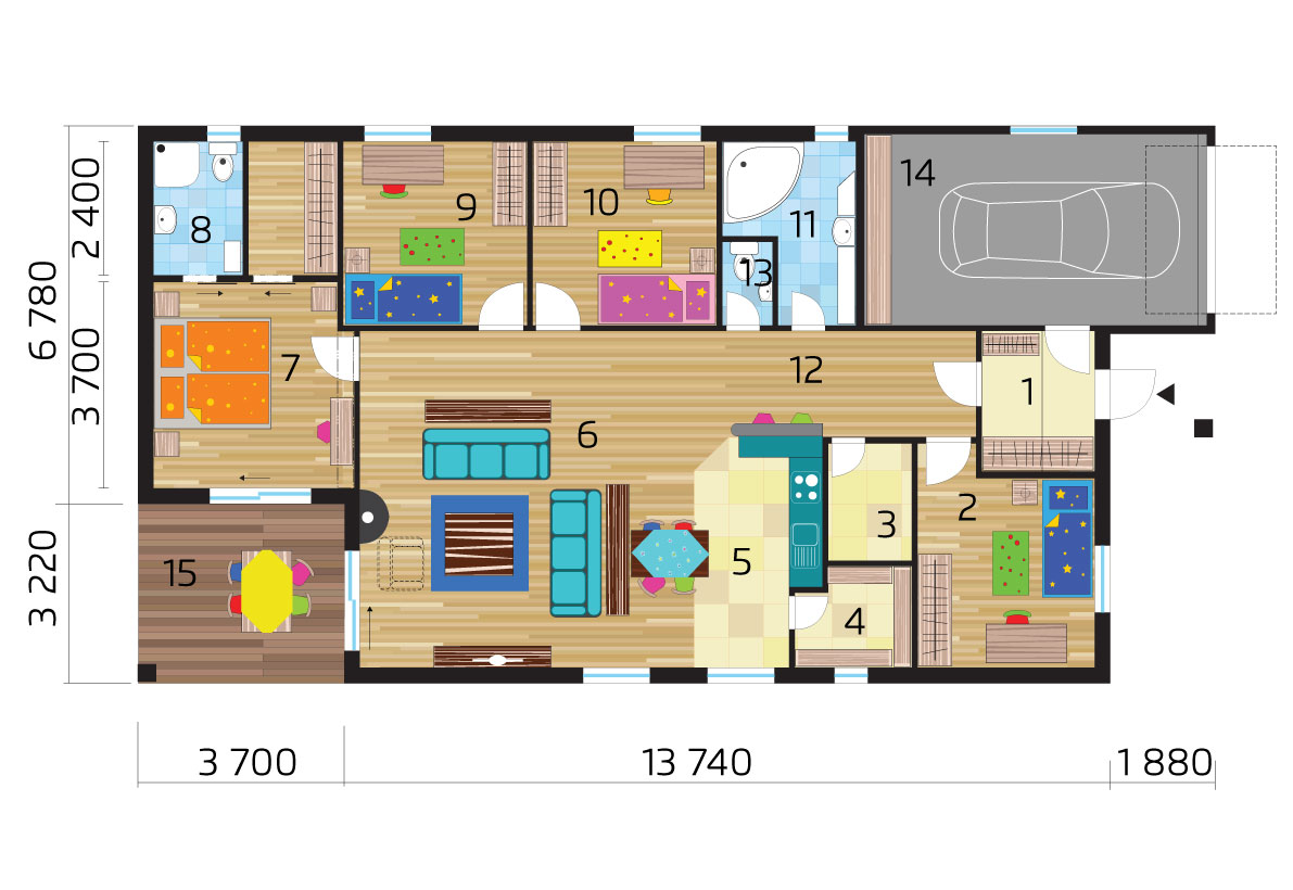 Bungalow with garage and four bedrooms - No.44, layout