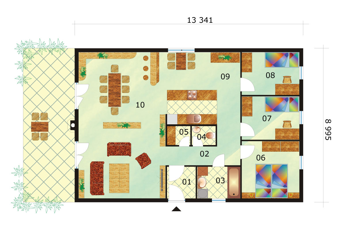 Four-room rectangular bungalow - No.39, layout