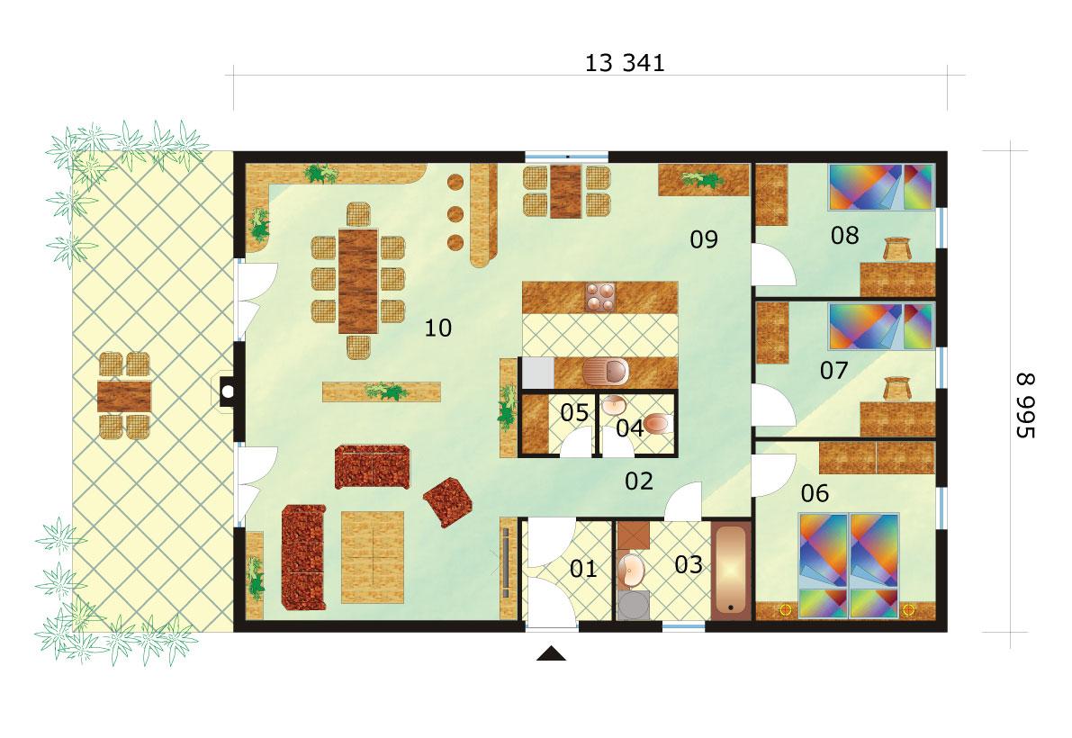 Four-room rectangular bungalow - No.39, layout