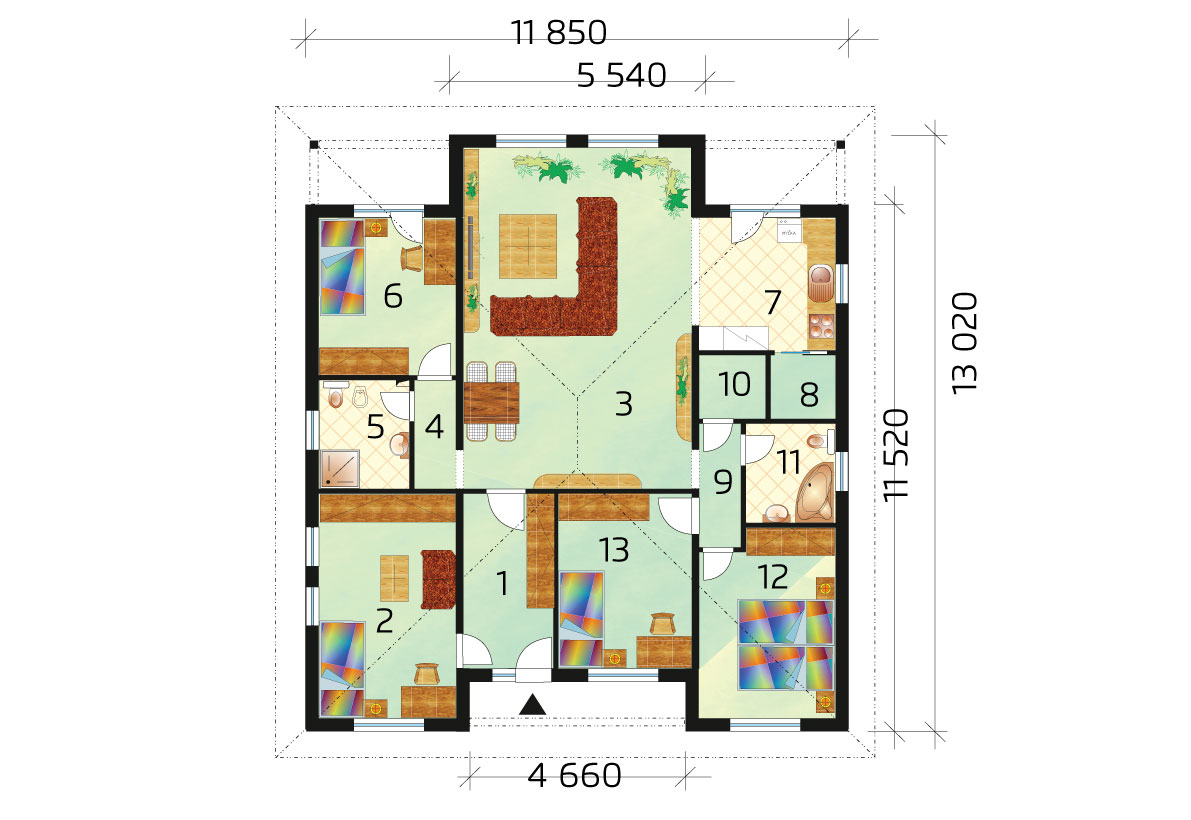 Five bedroom bungalow with or without garage - No.40, layout