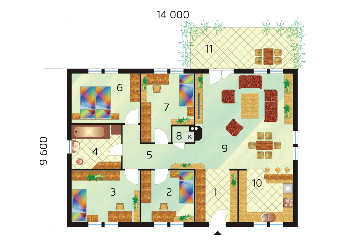 5 bedroom bungalow with rectangular floor plan - No.34, layout