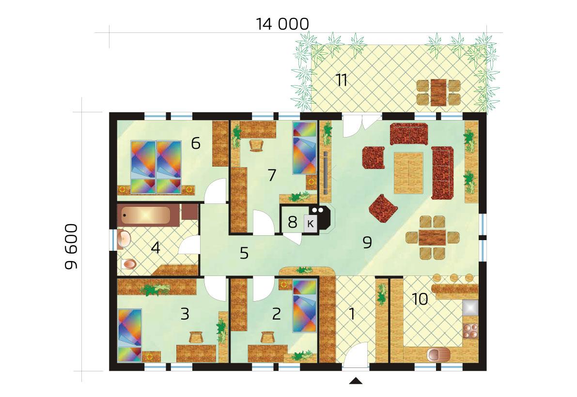 5 bedroom bungalow with rectangular floor plan - No.34, layout