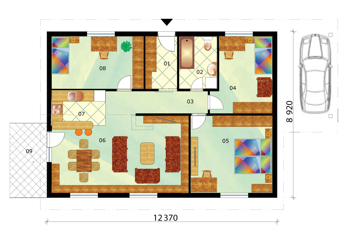 Bungalow with car port - No.12, layout