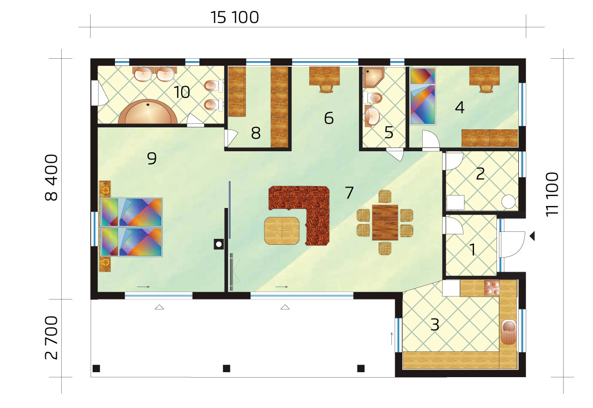 Bungalow with large bedroom and wardrobe - No.48, layout