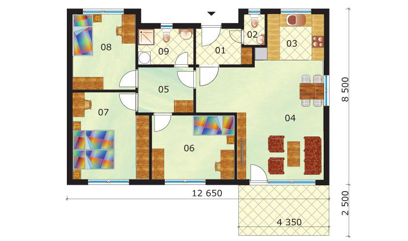 Economic four-room bungalow - no.45, layout