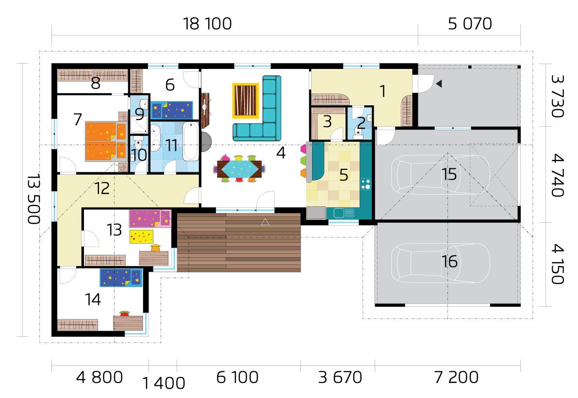 Large U-shaped bungalow with double garage - No.29 - layoutu pôdorys