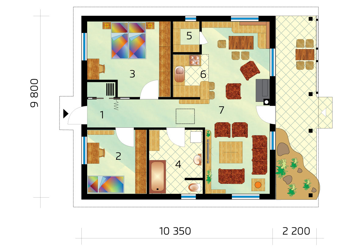 Two-room bungalow of square shape - No.38, layout