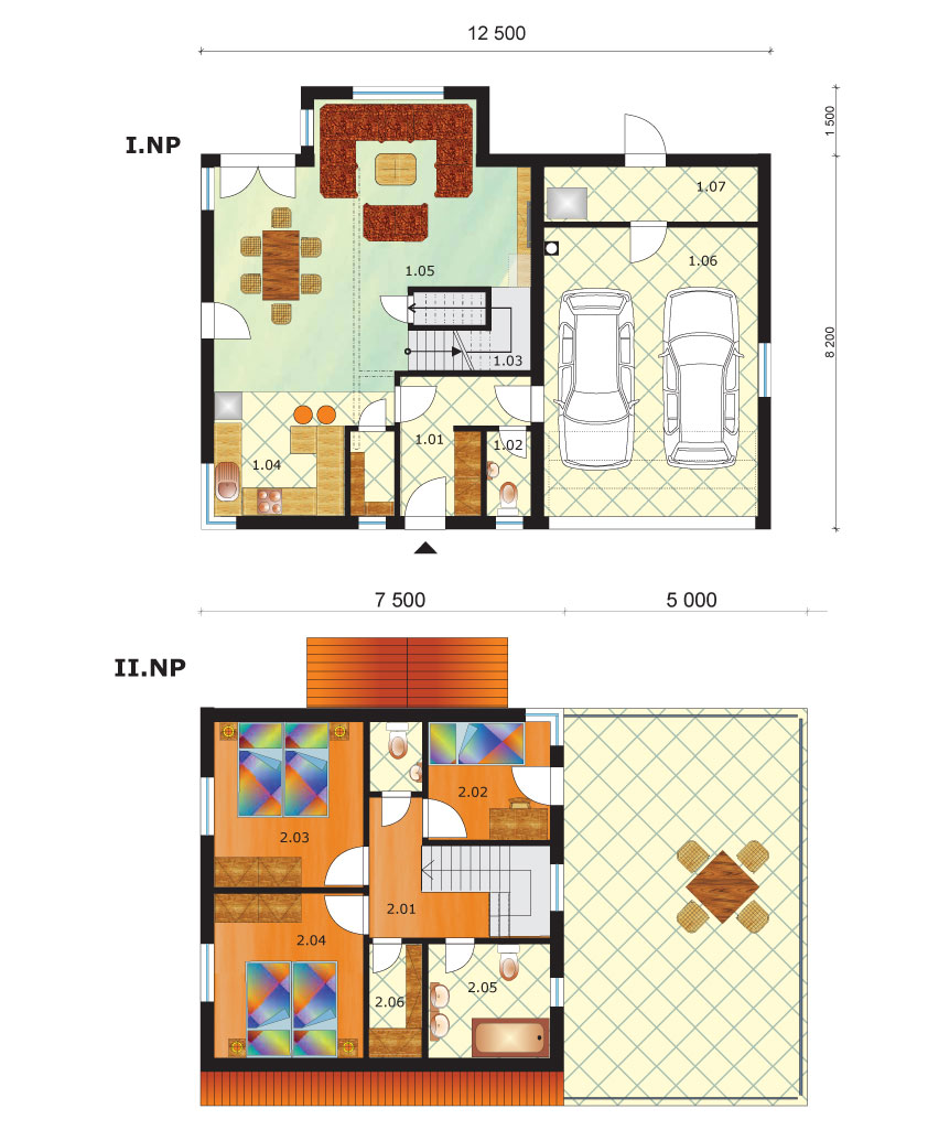 Two storey house with double garage - No.51, layout