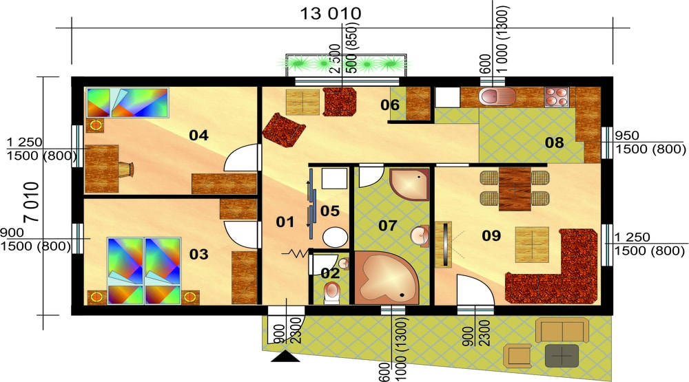 Two bedroom bungalow - No.94 - layout