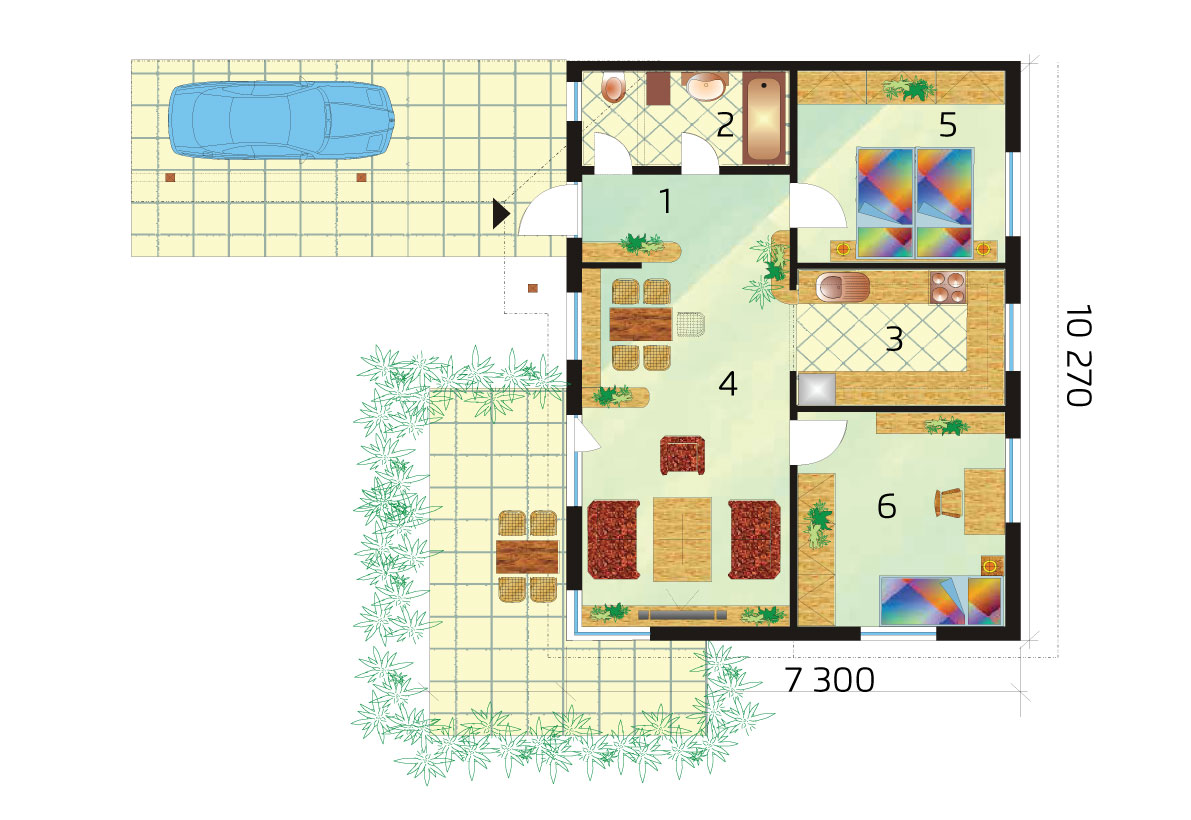 Two bedroom bungalow for smaller plots - No.15, layout