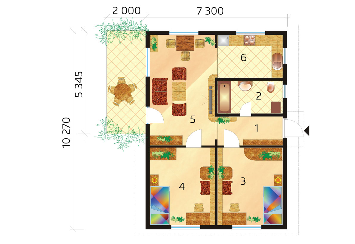 Small bungalow for narrow plot, garden house - No.14, layout