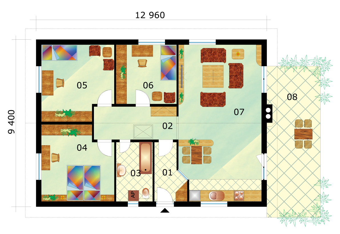 Favorite family house project with three bedrooms - No.31, layout