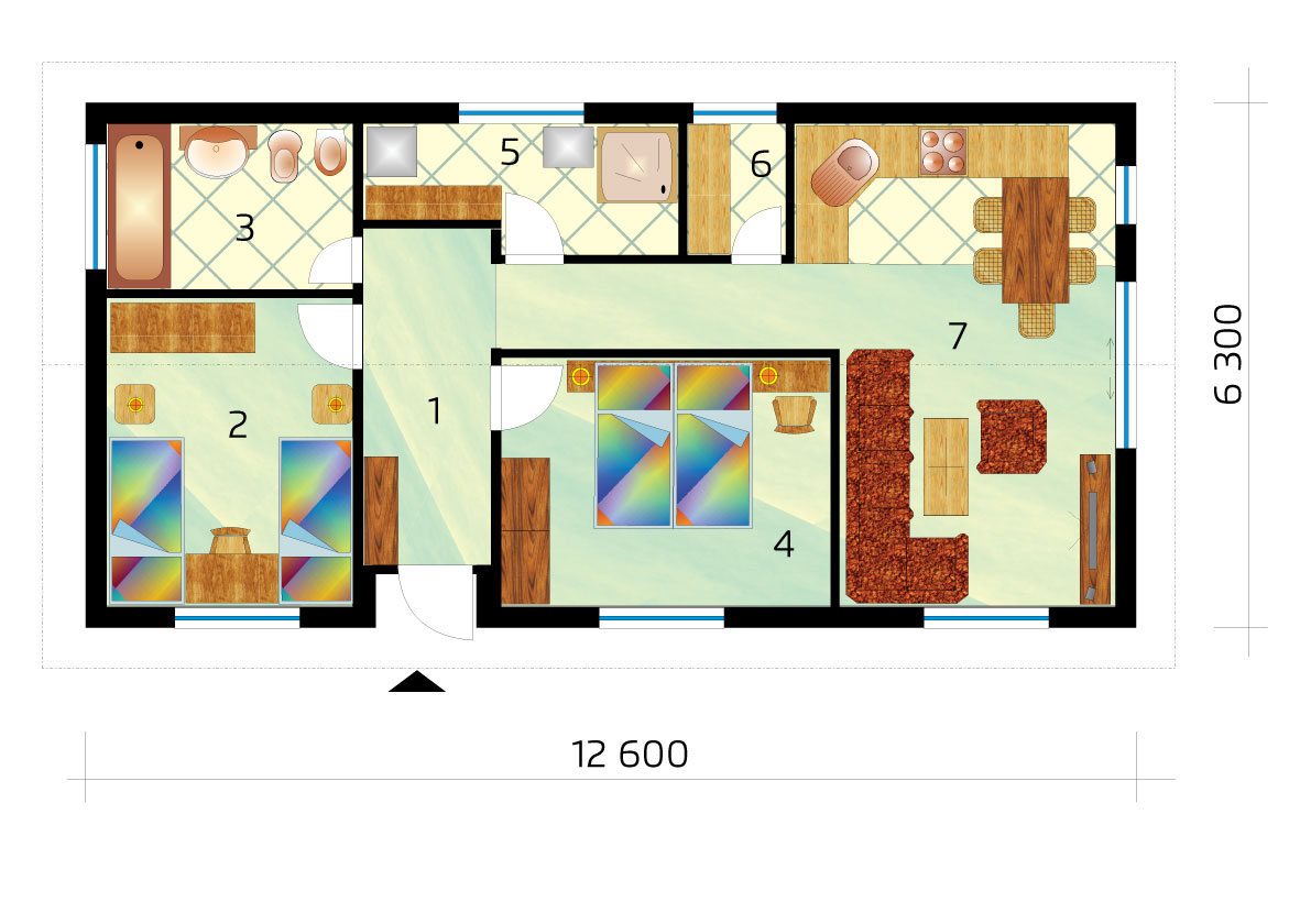 Project of a narrow three-room bungalow in the shape of a rectangle - No.47, layout