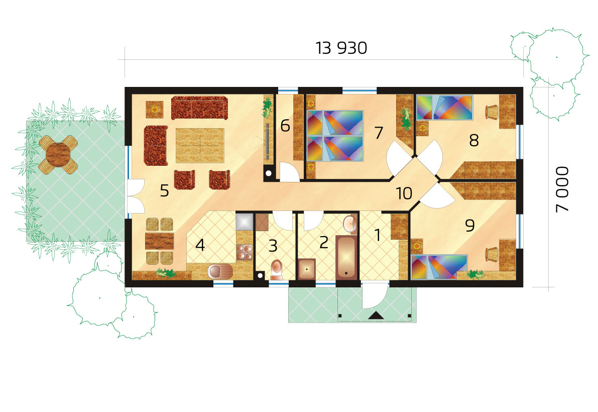 Project of a narrow three-bedroom prefab bungalow - No.36, layout