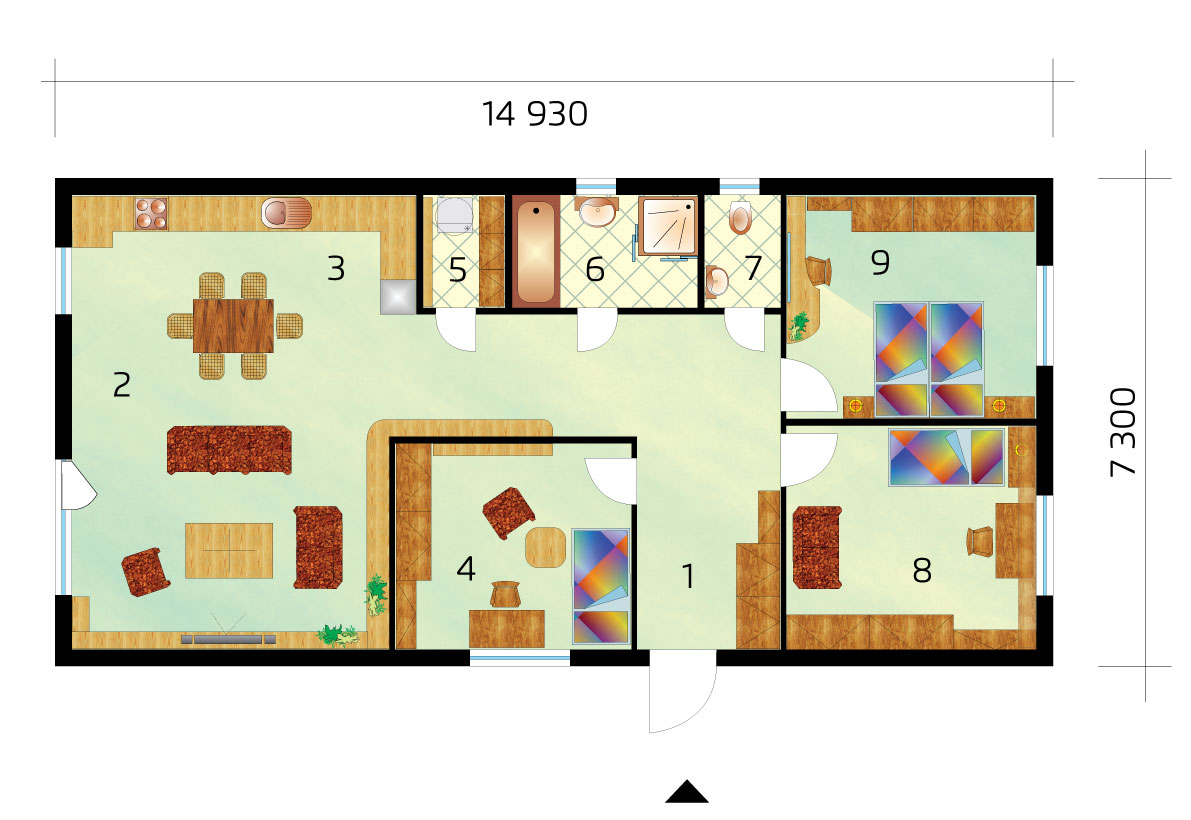 Project of a three-bedroom house on a narrow plot - No.18, layout
