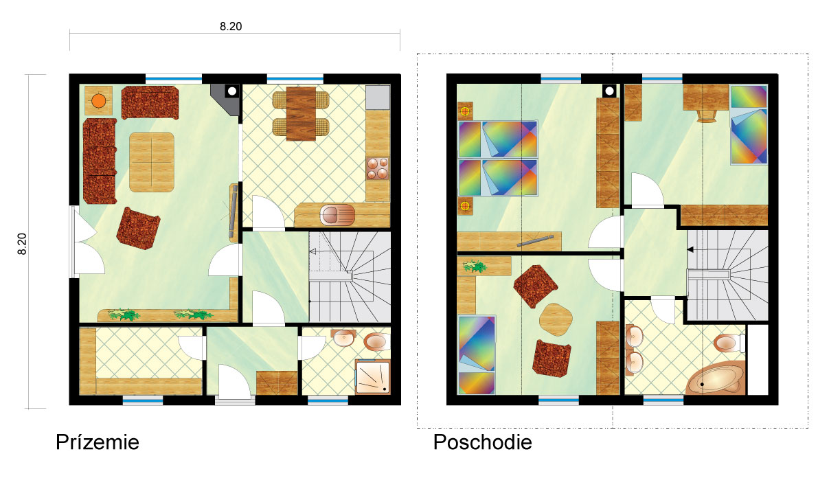 Medium-sized two-storey family house - No.6, layout