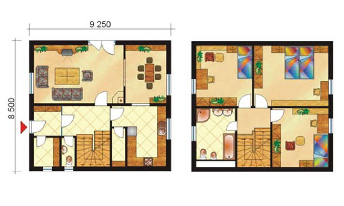 Three-storey family house with dining room - No.4, layout
