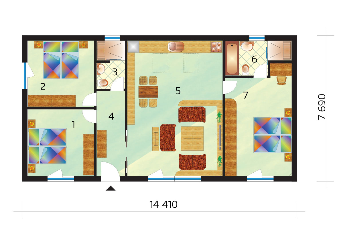 Three bedroom bungalow with separate bedroom from the rooms - No.41, layout