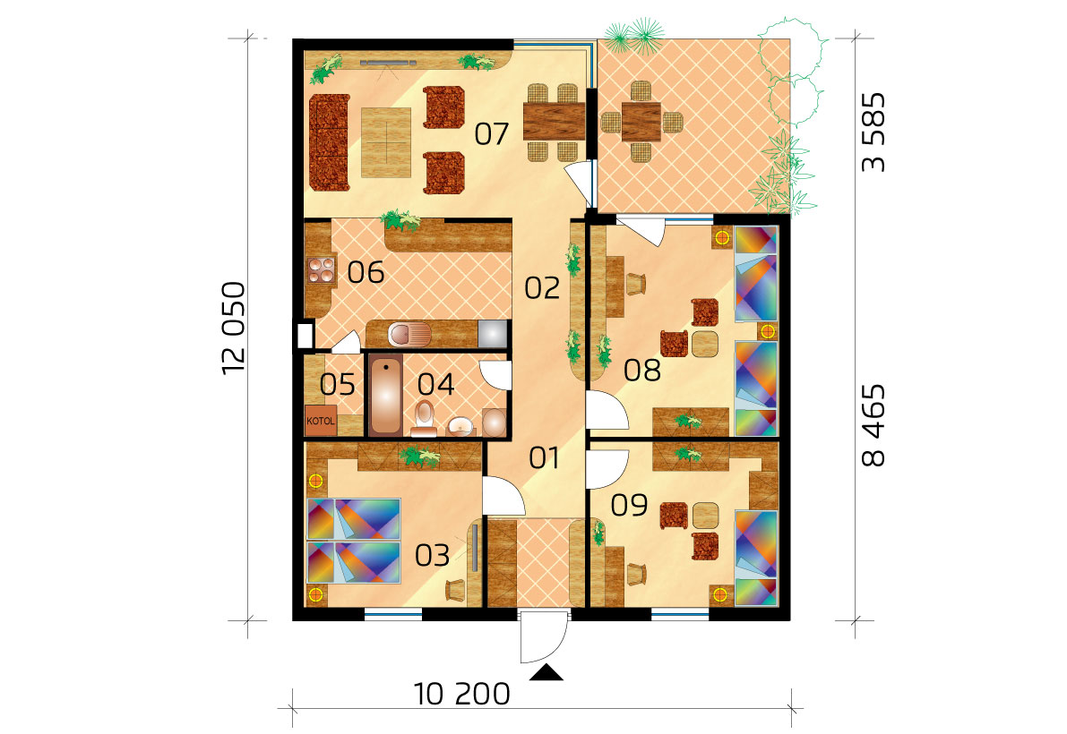Three-bedroom L-shaped ground floor house - No.10, layout