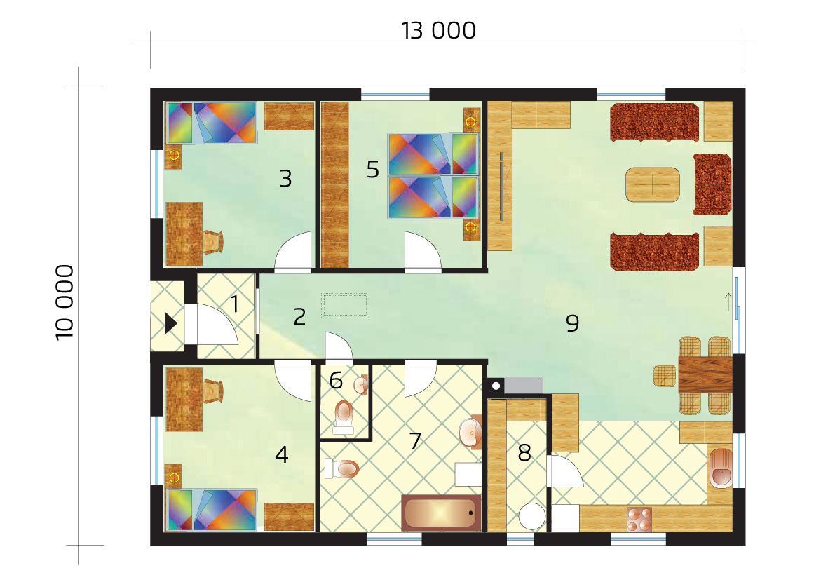 Three-bedroom family house with large chamber - No.37, layout