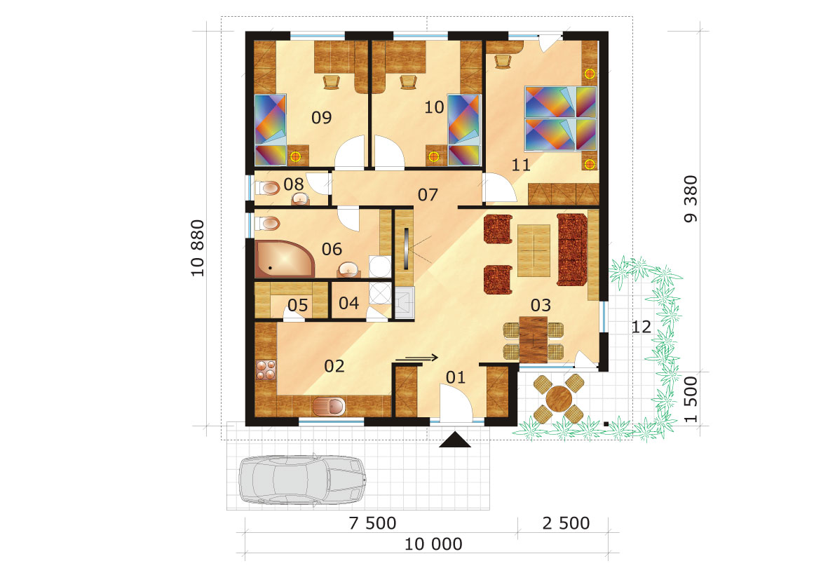 Three-bedroom house with a square layout - No.32, layout