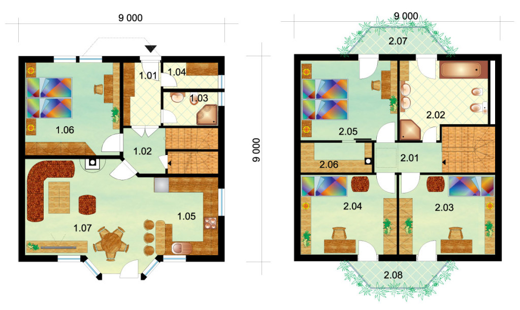 Large four-bedroom two storey house - No.2, layout