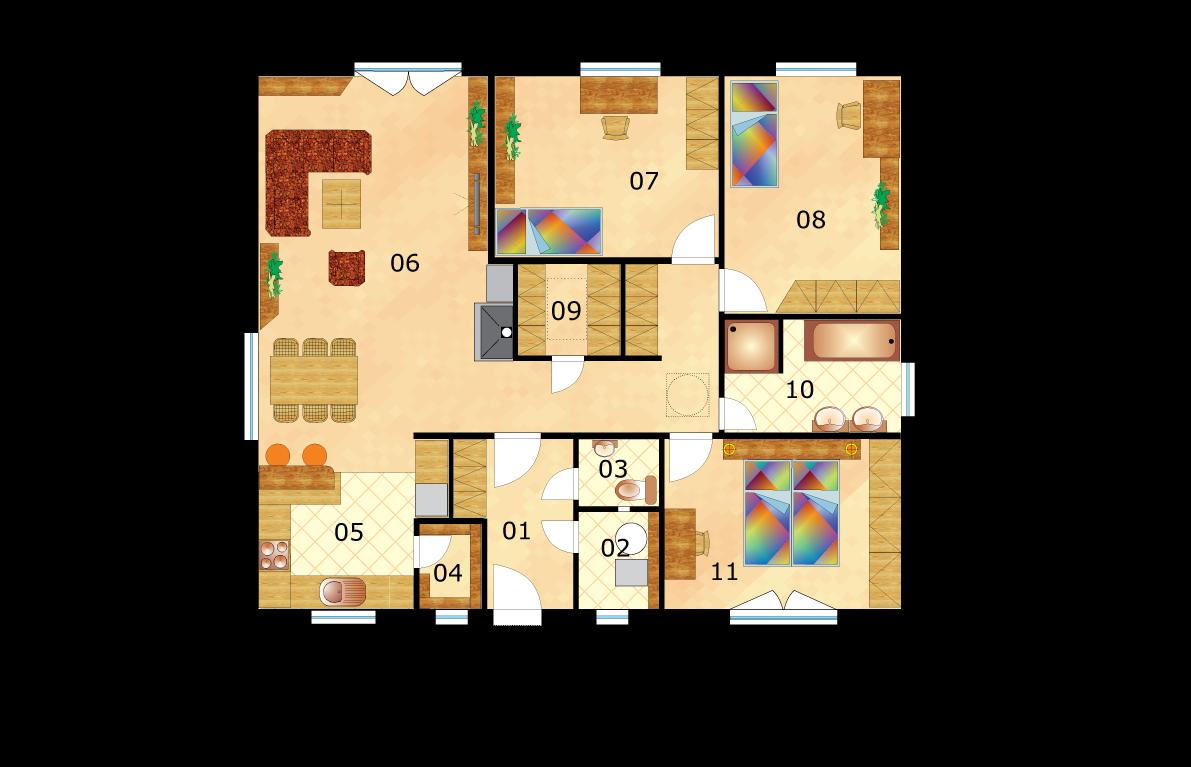 Large bungalow square shape - No.46, layout