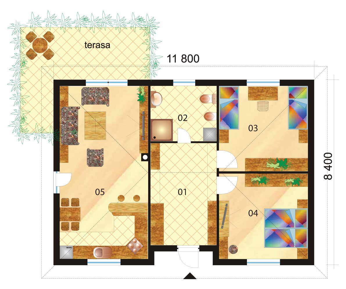 Large two bedroom bungalow with hip roof - No.11, layout