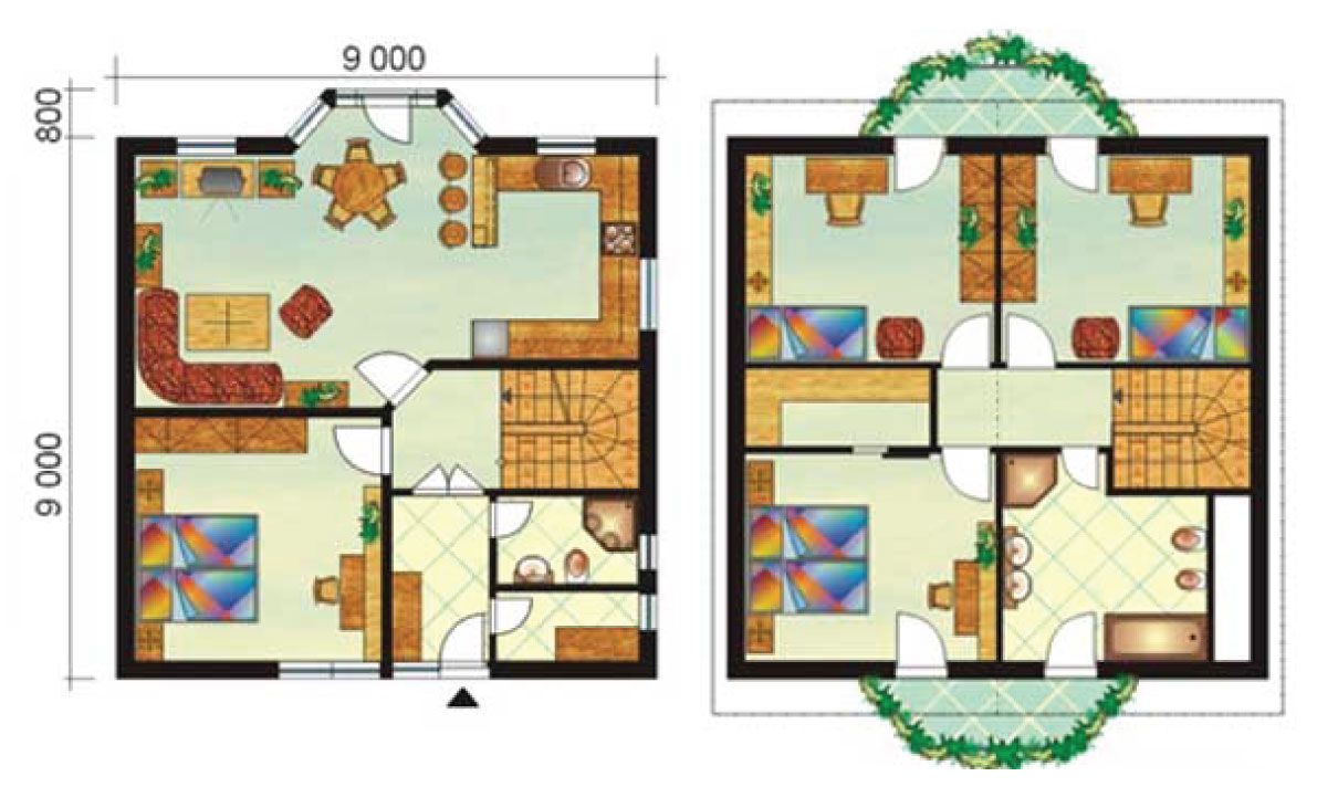 Large five-bedroom, two storey house - No.3, layout