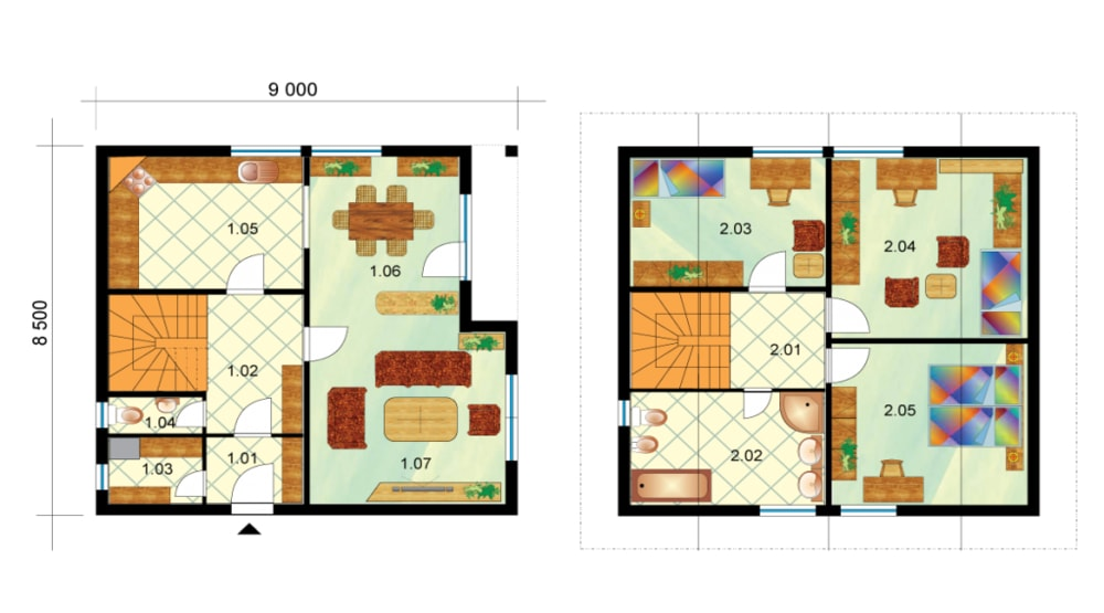 Large three-storey house - No.1, layout