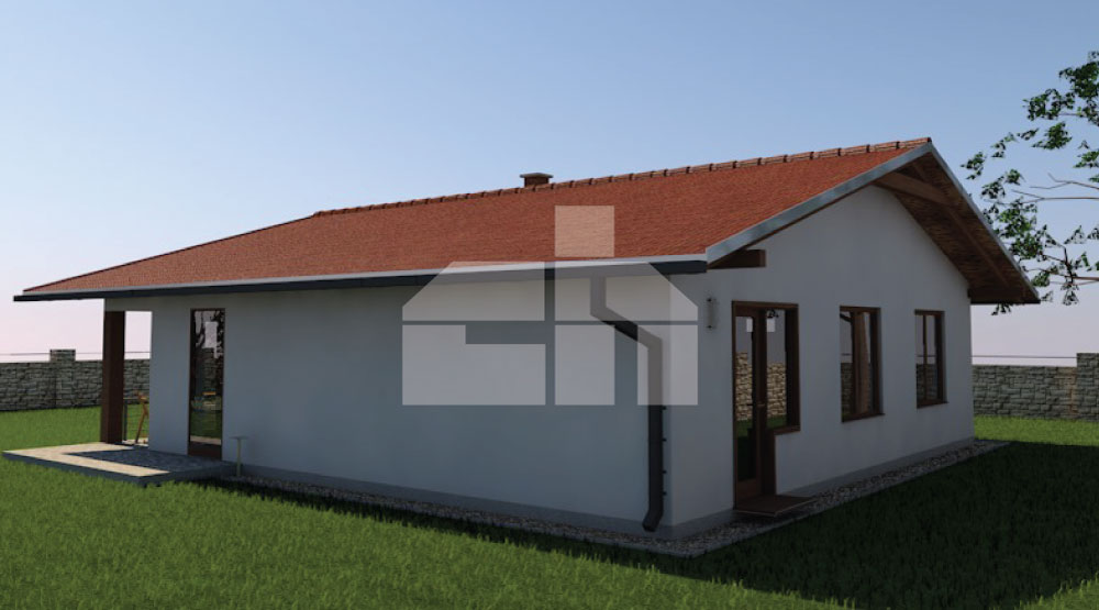 Three-bedroom house with a square layout - No.32