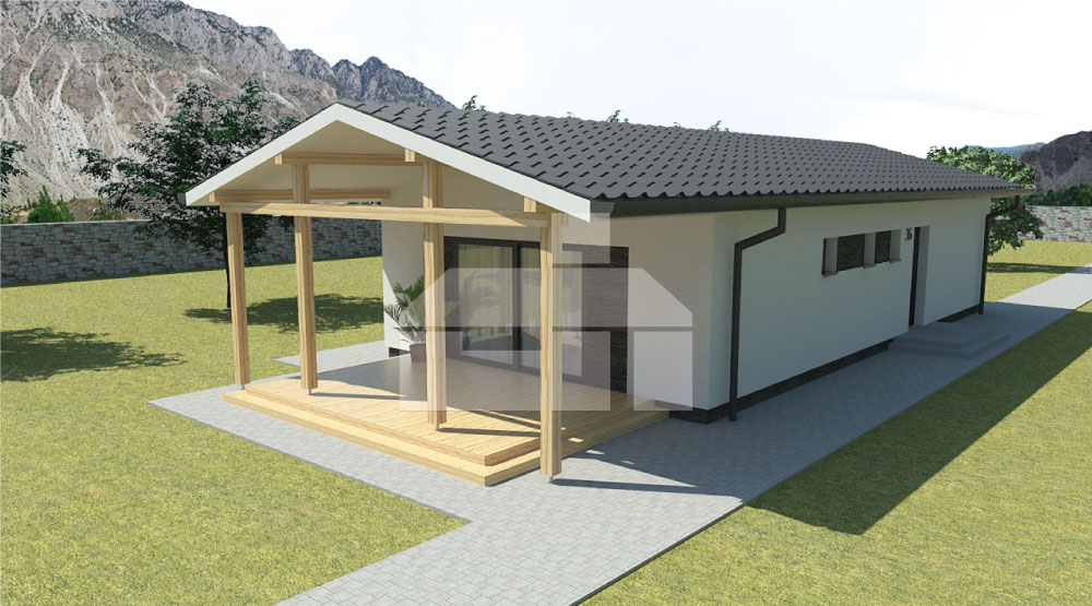 Project of a narrow three-bedroom prefab bungalow - No.36
