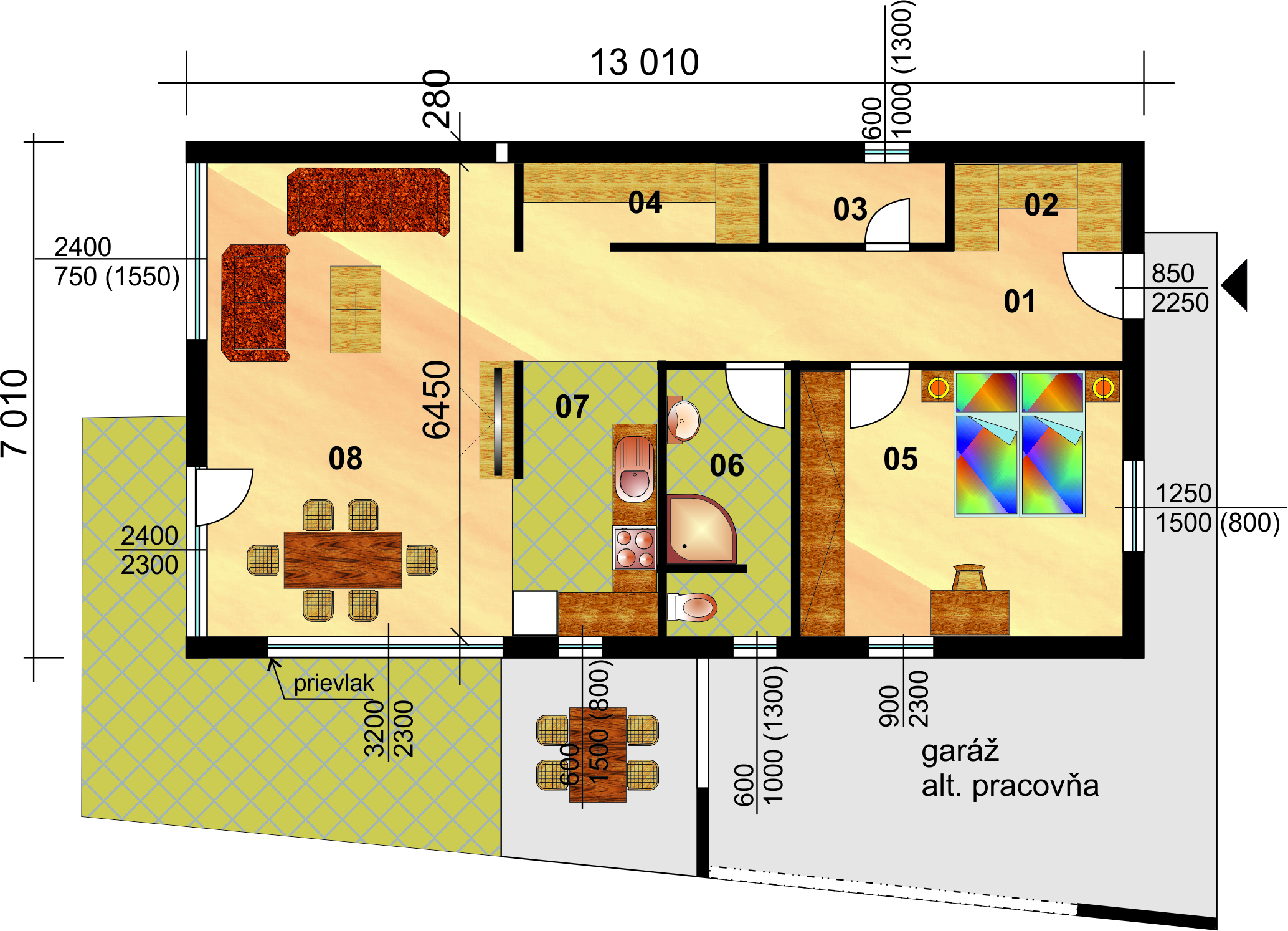 Two bedroom ceramic bungalow with one bedroom- No.93 - layout