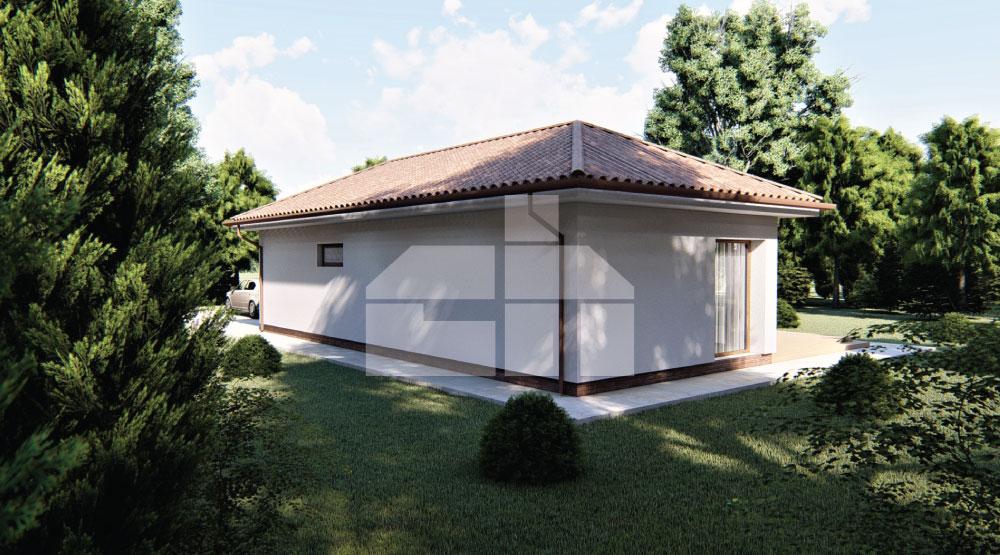 Large U-shaped bungalow with double garage