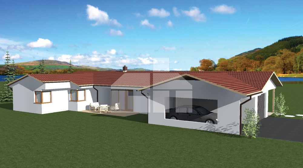 Large U-shaped bungalow with double garage - No.29